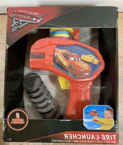 DISNEY PIXAR CARS-3 TIRE LAUNCHER WITH 8 SAFE SOFT FOAM DISC
