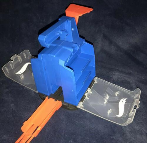 track builder display launcher carrying case blue