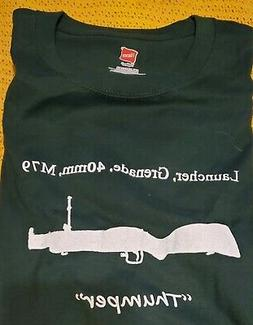 M79 Grenade Launcher T-Shirt White on Deep Forest Green LARG